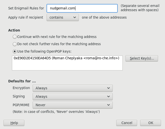 Per-recipient rules for Nudgemail in Enigmail