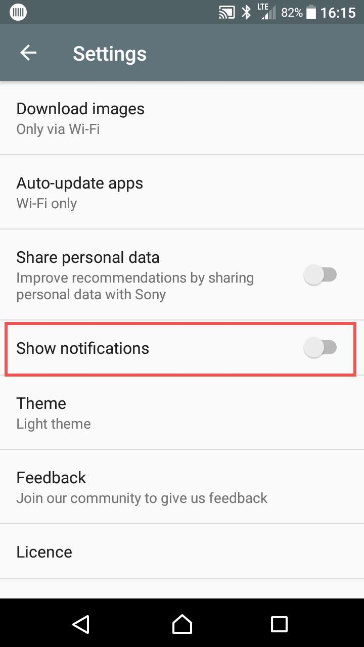 Disable Sony What's New notifications